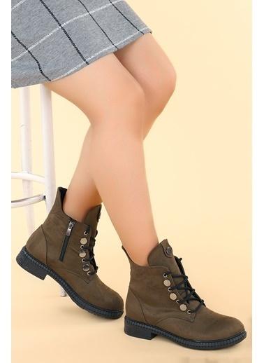 Ayakland Ayakland N901-02 Süet Termo Taban Kadın Bot Ayakkabı Haki